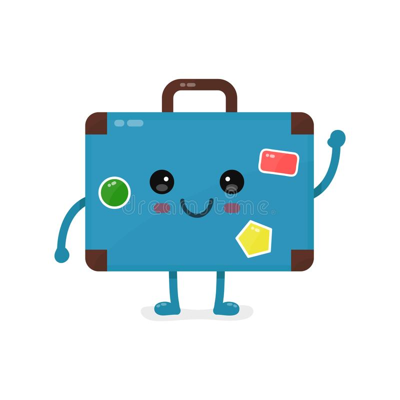 Cute happy smiling vintage old suitcase stock illustration