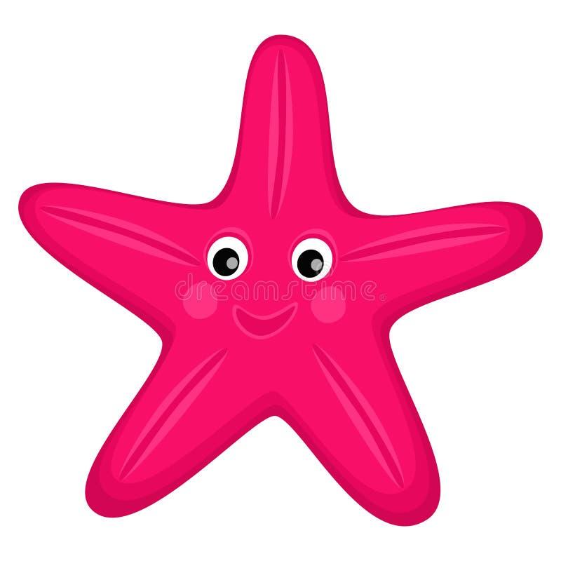 Cute happy starfish cartoon character Sea animal vector illustration Invertebrate animal sea fauna Star shape vector illustration royalty free illustration