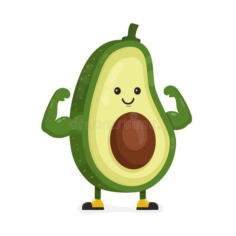 Cute happy strong smiling avocado royalty free illustration