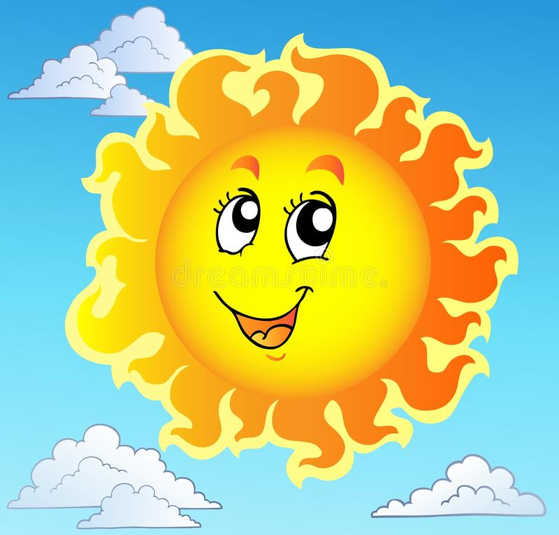 Cute happy Sun on blue sky vector illustration