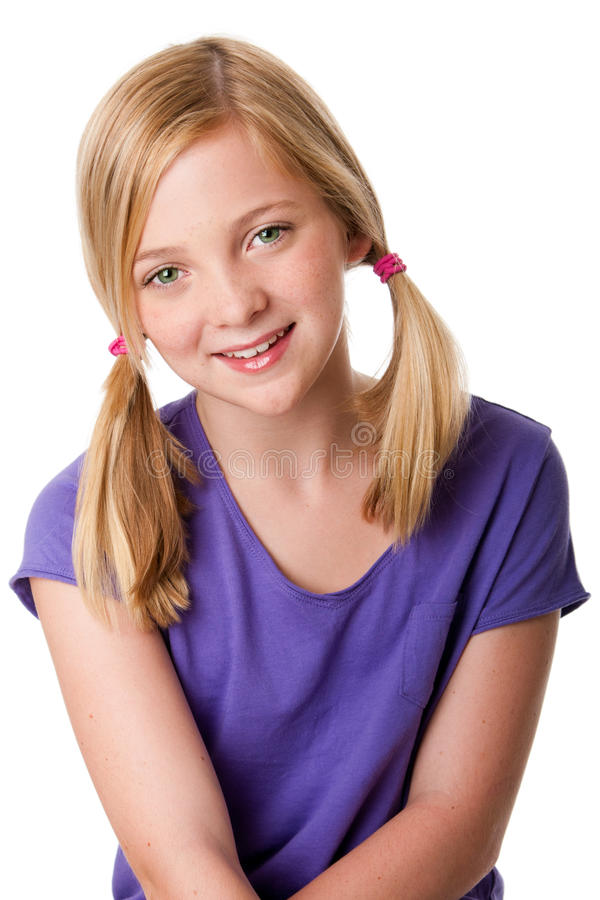 Cute Happy Teenager Girl Stock Image. Image Of Pigtails