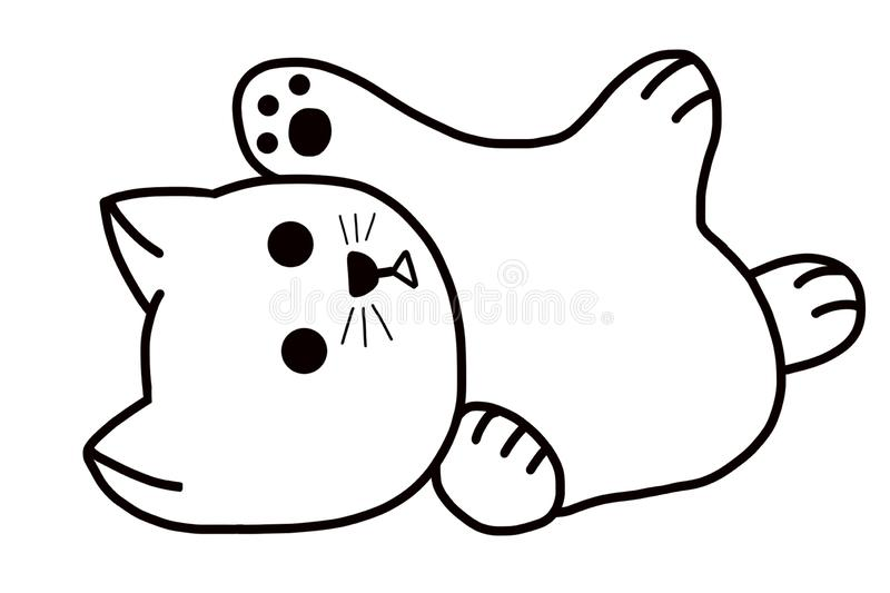 A cute happy white chubby cat. A cute white chubby cat loves play with owner. The cat's interest is to eat and sleep royalty free illustration