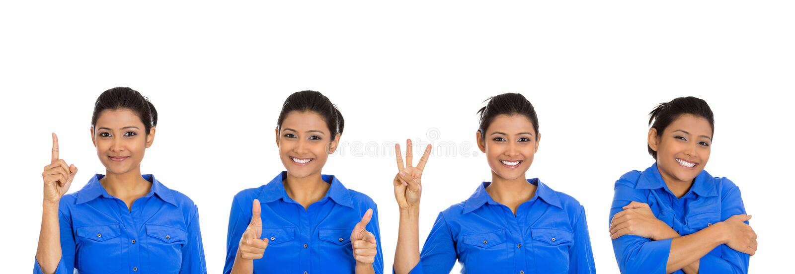 Cute happy woman giving different gestures royalty free stock images