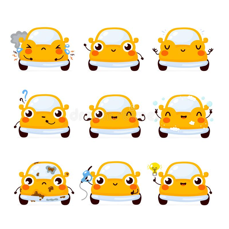 Free Cute Happy Yellow Automobile Car Stock Photos - 171828453