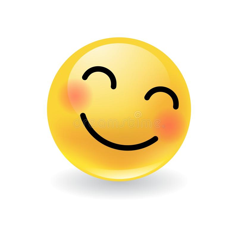 Cute yellow round emoticon smiling and blushing. Cute happy yellow round emoticon with a beaming smile blushing in embarrassment with red cheeks over white with stock illustration