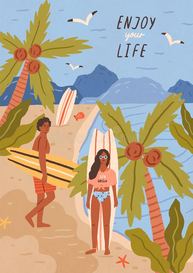 Cute happy young man and woman with surfboards on tropical sandy beach. Pair of smiling surfers on sea or ocean coast royalty free illustration
