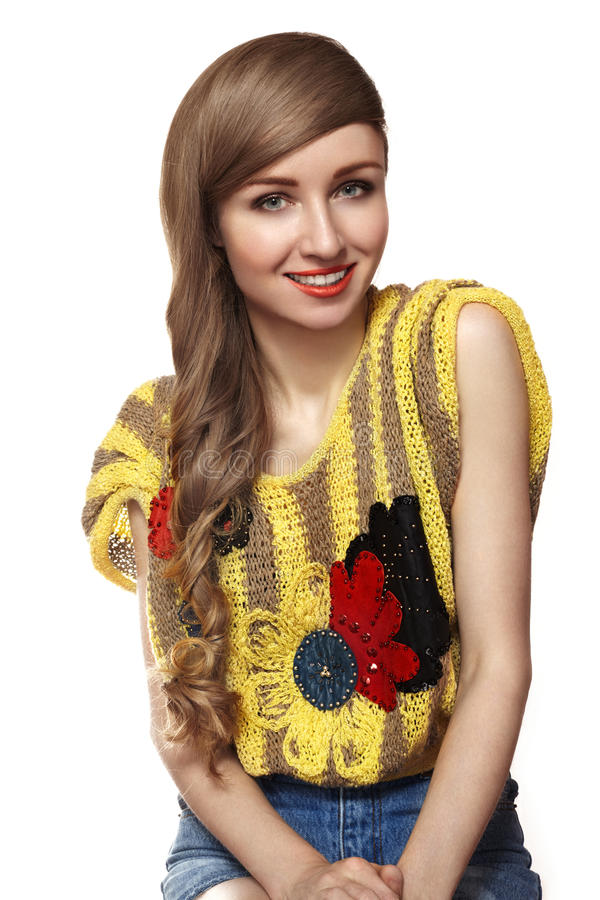 Cute happy young woman with long hairstyle. Teens style royalty free stock image