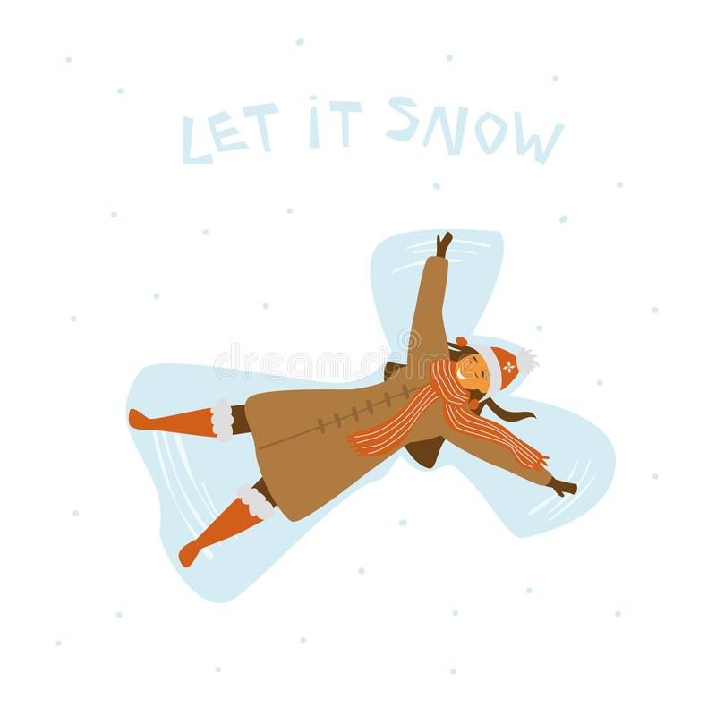 Cute happy young woman making snowangel, isolated cartoon vector illustration vector illustration