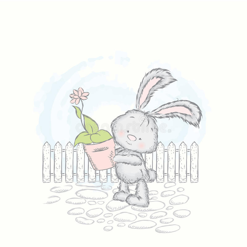 Free Cute Hare Carries A Pot Of Flower. Charming Rabbit. Royalty Free Stock Images - 80472379