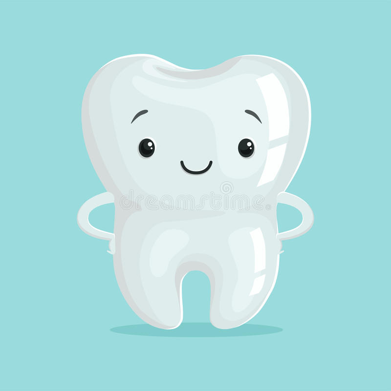 Cute healthy white cartoon tooth character, childrens dentistry concept vector Illustration vector illustration