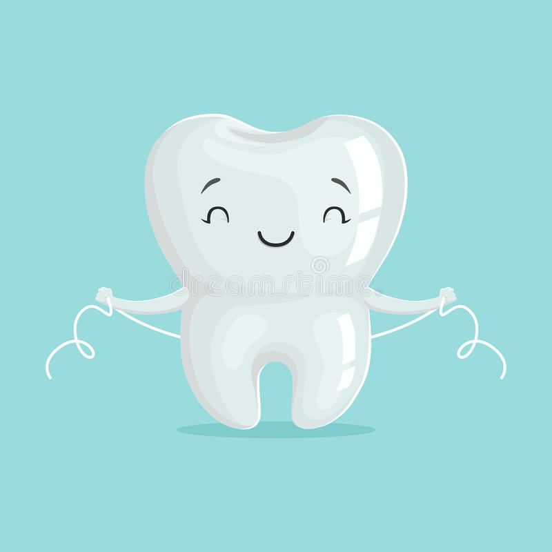 Cute healthy white cartoon tooth character cleaning itself with dental floss, oral dental hygiene, childrens dentistry vector illustration