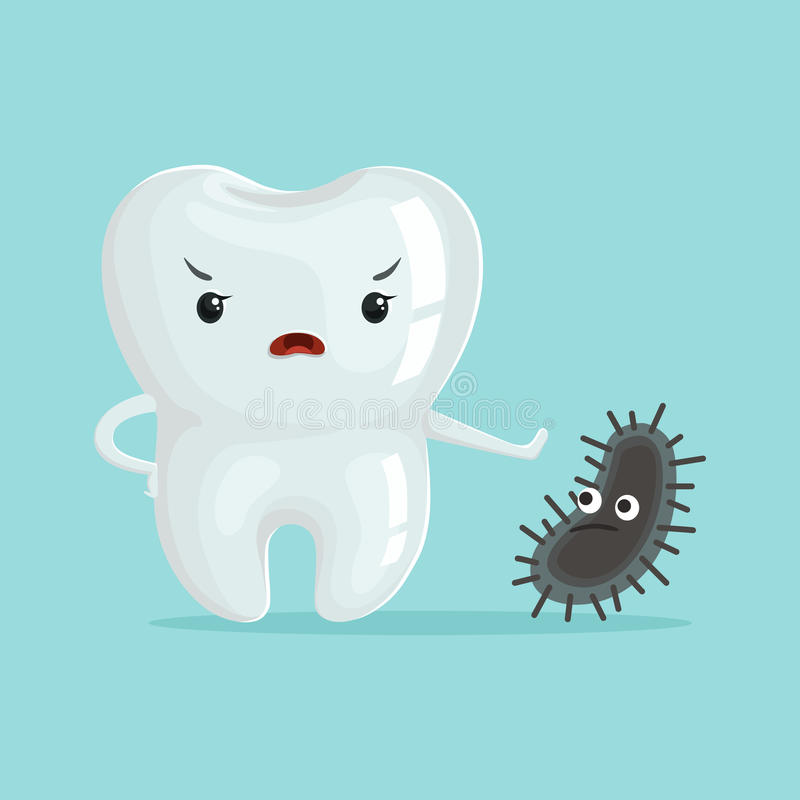 Cute healthy white cartoon tooth character fighting with cavities, childrens dentistry concept vector Illustration. On a light blue background stock illustration