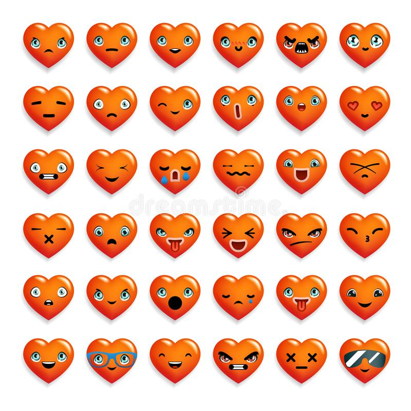 Cute heart chat emoticon smiley emoji icons set isolated 3d realistic cartoon decoration design vector illustration. Cute heart chat emoticon smiley emoji icons vector illustration