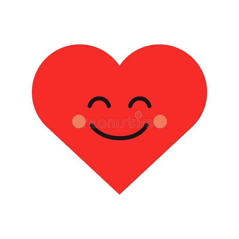 Cute heart emoji. Smiling face icon. Smiley character royalty free illustration