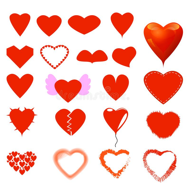 Different heart form and style set. royalty free stock photography