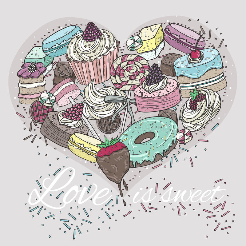 Cute heart from sweets. stock illustration