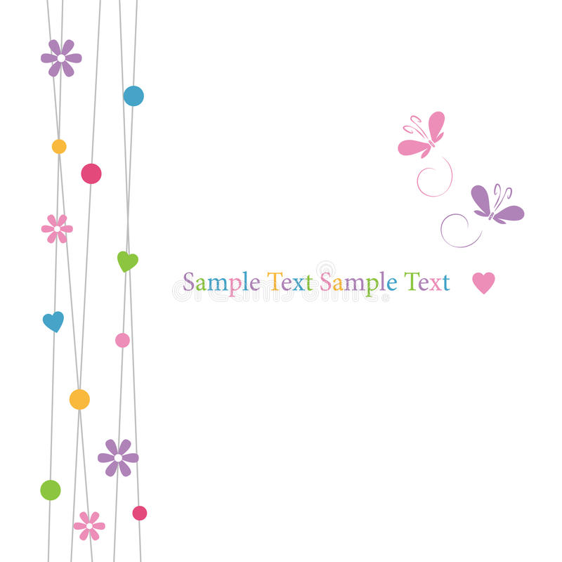 Cute hearts flowers dots and butterflies greeting card royalty free illustration