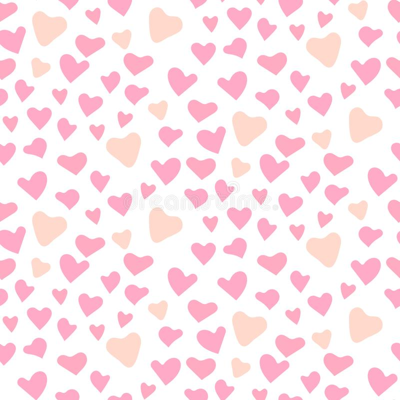 Cute hearts seamless vector pattern. Valentines Day pink background. royalty free illustration
