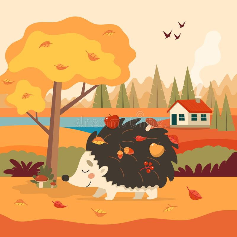 Cute hedgehog with autumn background with tree and a house. Hedgehog with apples, mushrooms and leaves. Seasonal vector stock illustration