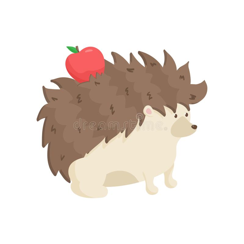 Cute hedgehog carries red apple on his back with needles. Close up side view stock illustration
