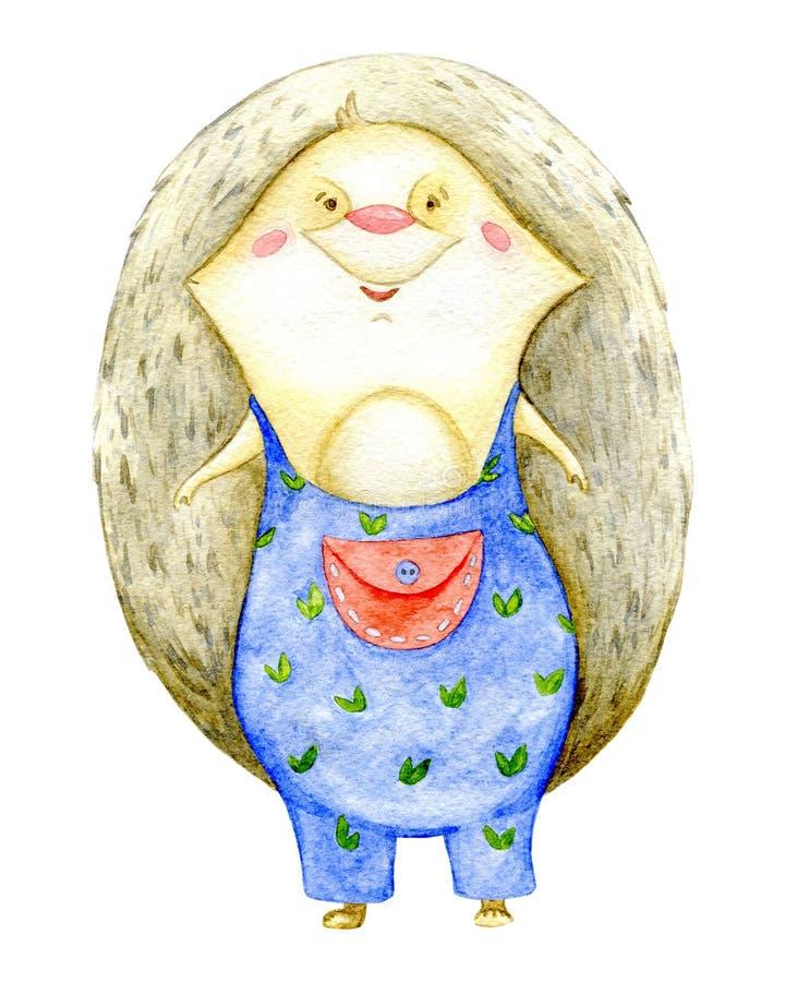 Cute hedgehog in denim overalls. Cartoon character. stock illustration