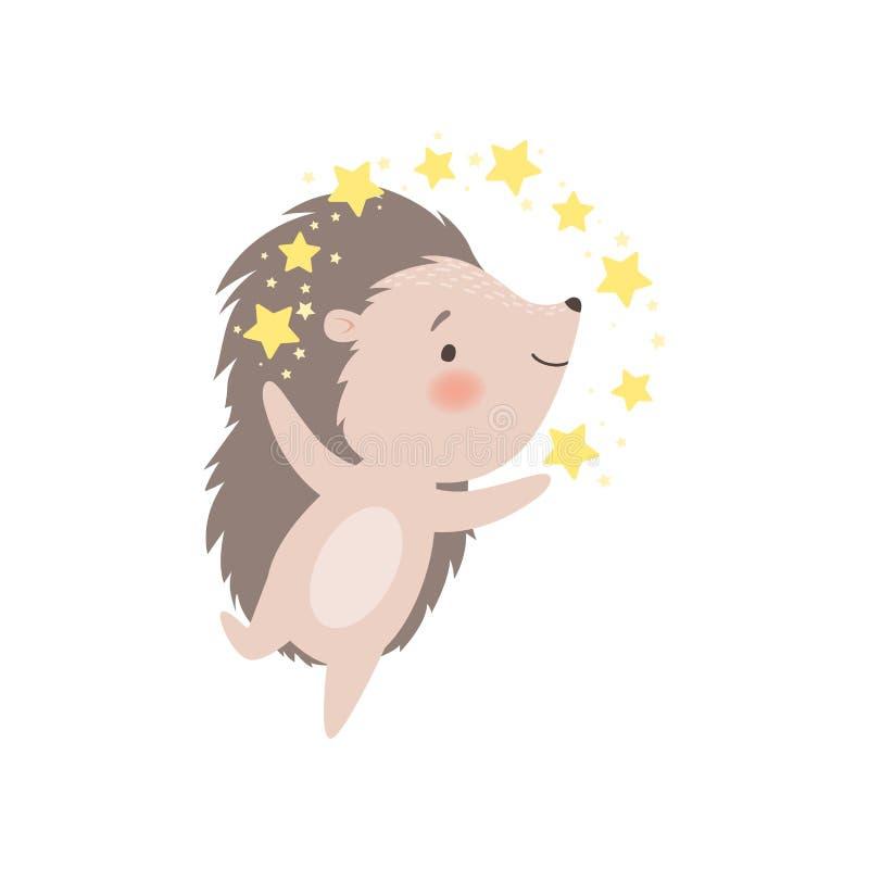 Cute Hedgehog Girl in Dress Umgeben von goldenen Sternen, Adorable Prickly Animal Cartoon Charakter Vector Illustration stock abbildung