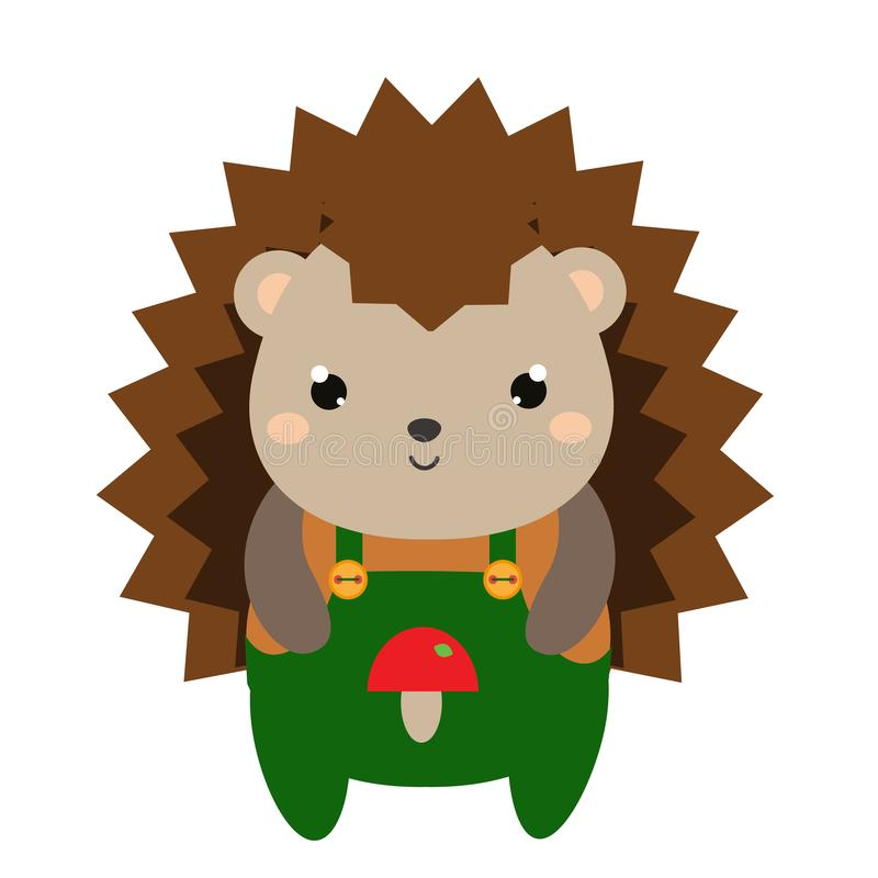 Cute hedgehog in green jumpsuit. Cartoon kawaii animal character. Vector illustration for kids and babies fashion.  royalty free illustration