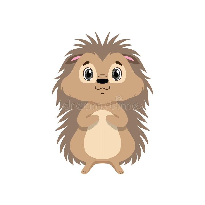 Cute hedgehog, lovely animal cartoon character front view vector Illustration royalty free illustration