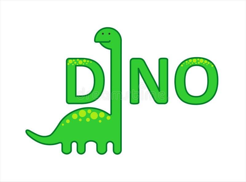Cute Herbivorous Long-necked Dinosaur, Dino med lång hals Diplodocus, Brachiosaurus, Brontosaurus För utskrift stock illustrationer