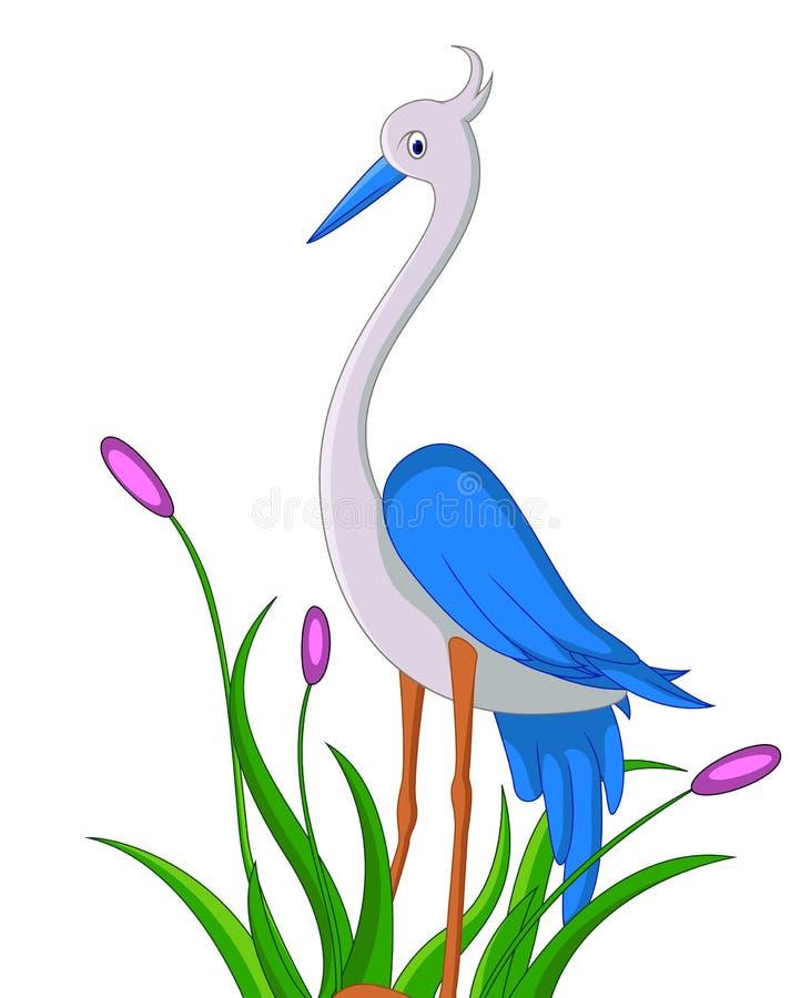 Cute heron cartoon stock illustration. Image of snowy ...