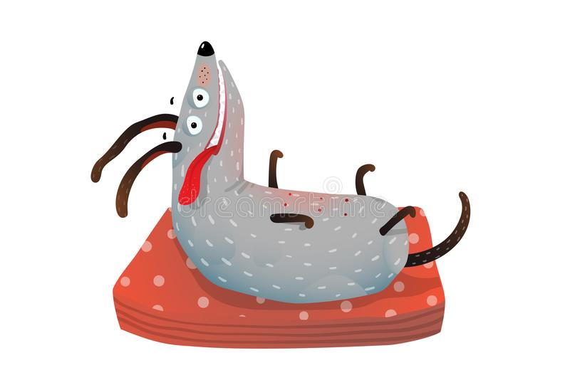 Funny Dog on Pillow. Cute hilarious dog on the pillow. Vector illustration royalty free illustration