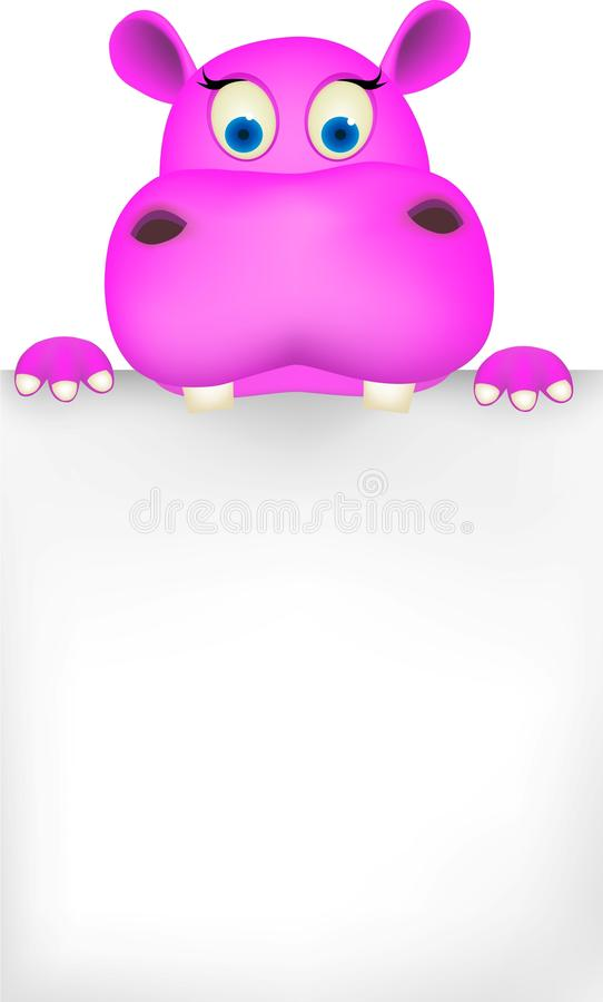 Download Cute hippo and blank sign stock vector. Image of safari - 18913859