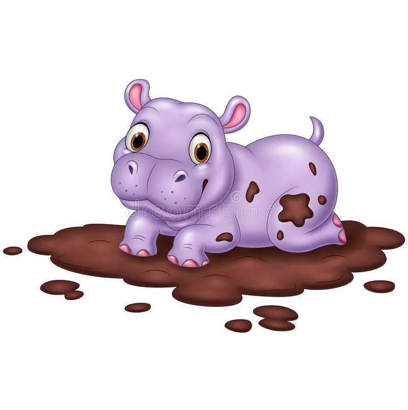 Cute hippo in the mud royalty free illustration