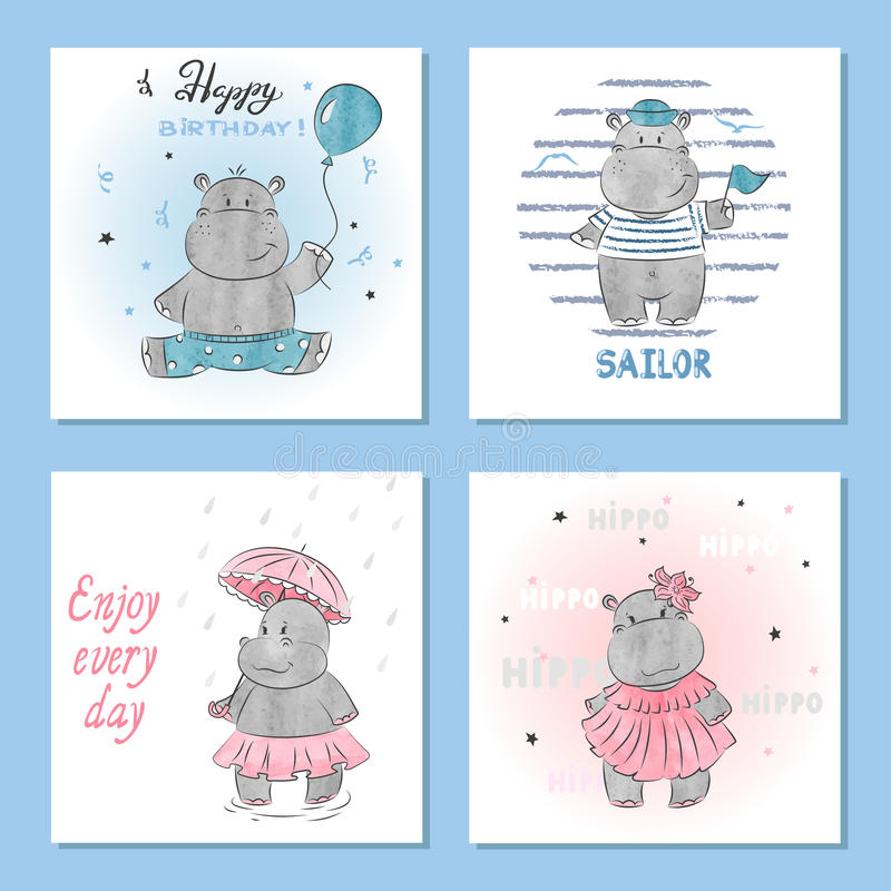 Cute Hippo vector illustrations. Set of birthday greeting cards. Posters, prints vector illustration