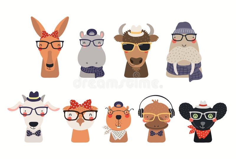 Cute hipster animals set stock illustration
