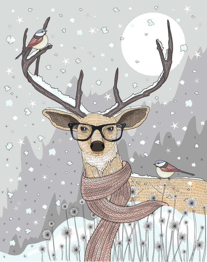 Cute hipster deer with scarf and glasses. Winter night stock illustration