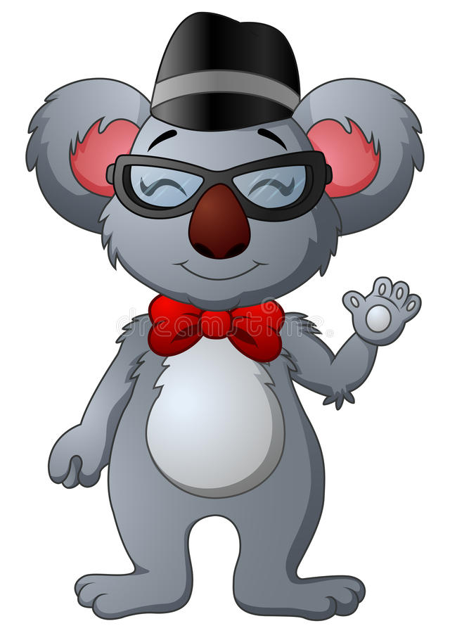 Cute hipster koala with glasses and hat stock illustration