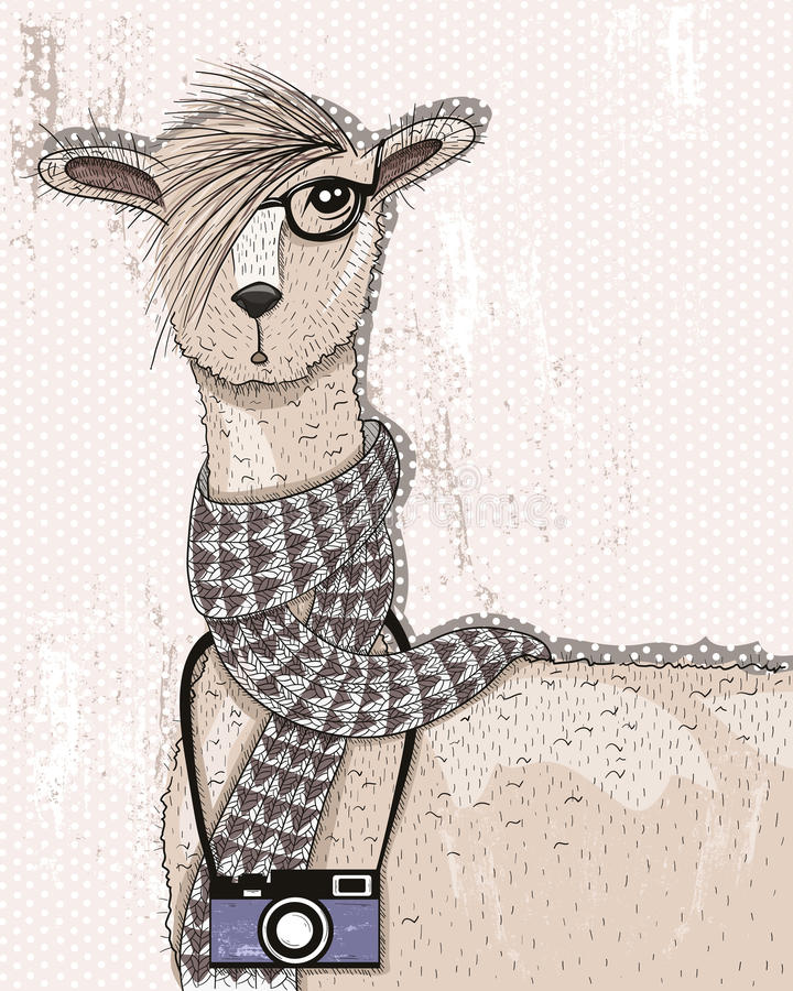 Cute hipster lama with photo camera royalty free illustration