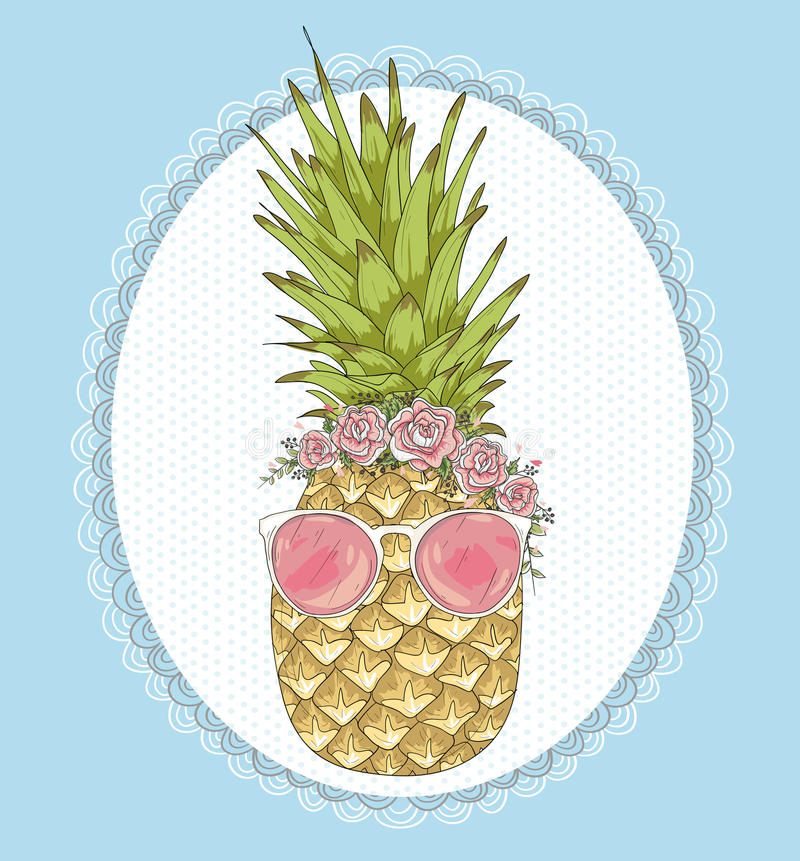 Cute hipster pineapple with sunglasses and flowers royalty free illustration