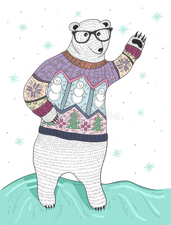 Cute hipster polar bear with glasses royalty free illustration