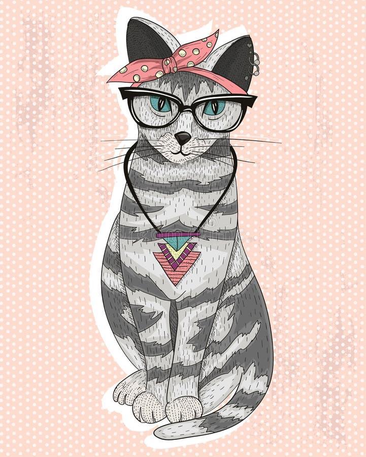 Cute hipster rockabilly cat stock illustration