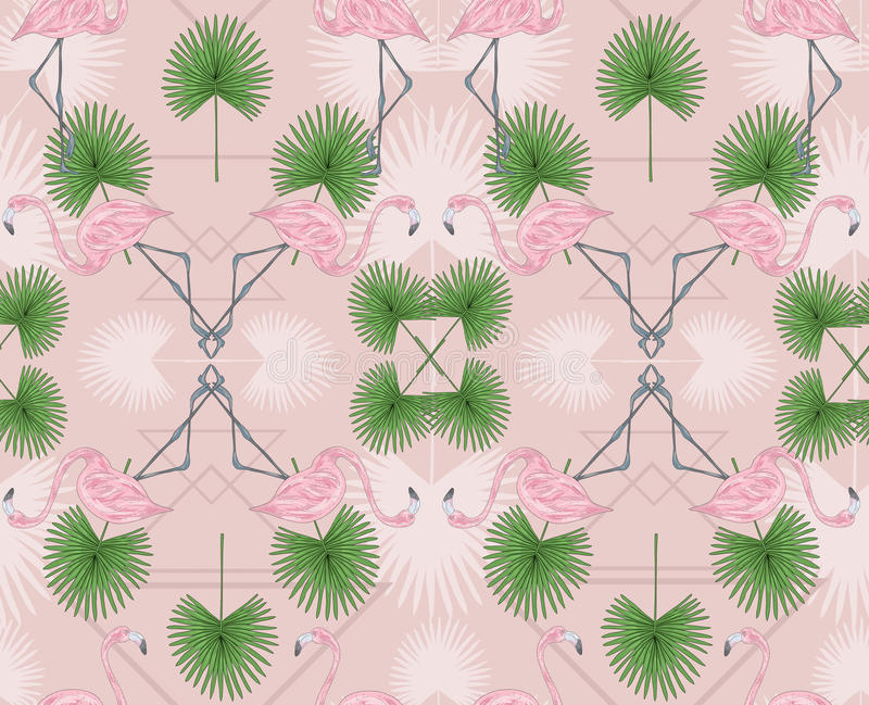 Cute hipster seamless pattern with flamingos and palm. royalty free illustration