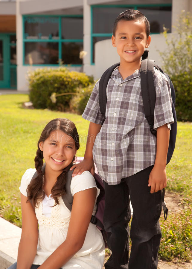 Download Cute Hispanic Brother And Sister Ready For School Stock Photo - Image of person, family: 10294928