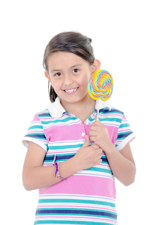 Cute Hispanic Little Girl Holding Big Lolly Pop On Stock Image - Image Of Hand, Cute -9647