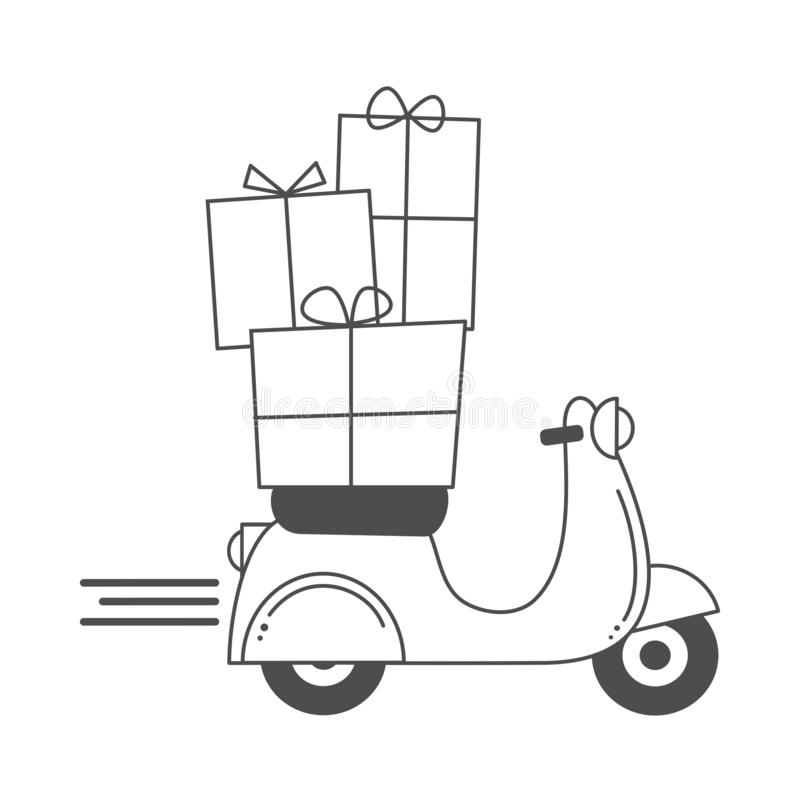 Cute holidays vector cartoon with scooter motorcycle and christmas gift box funny illustration for coloring art royalty free illustration