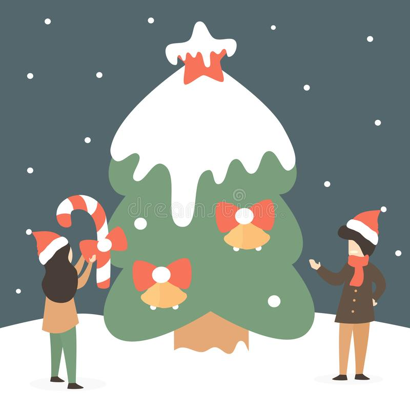 Cute holidays vector illustration with happy tiny people decorate huge christmas tree in the snow. Cute holidays illustration with happy tiny people decorate stock illustration