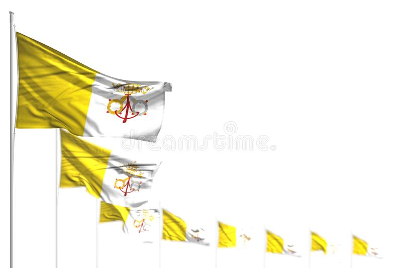 Cute Holy See isolated flags placed diagonal, image with selective focus and place for your content - any feast flag 3d. Cute any celebration flag 3d vector illustration
