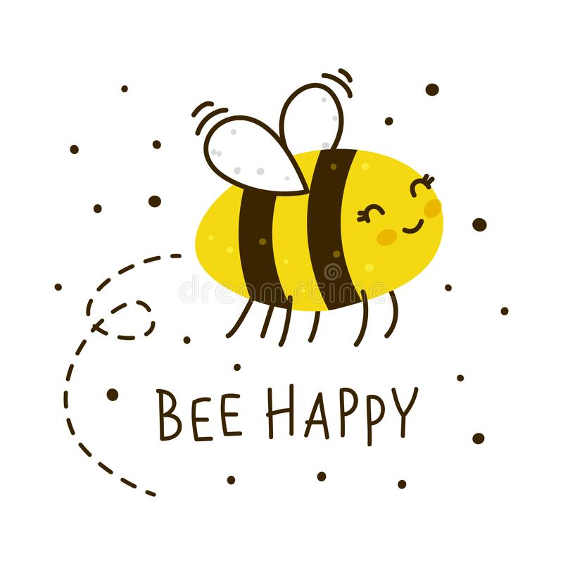 Cute honey bee isolated. On white royalty free illustration