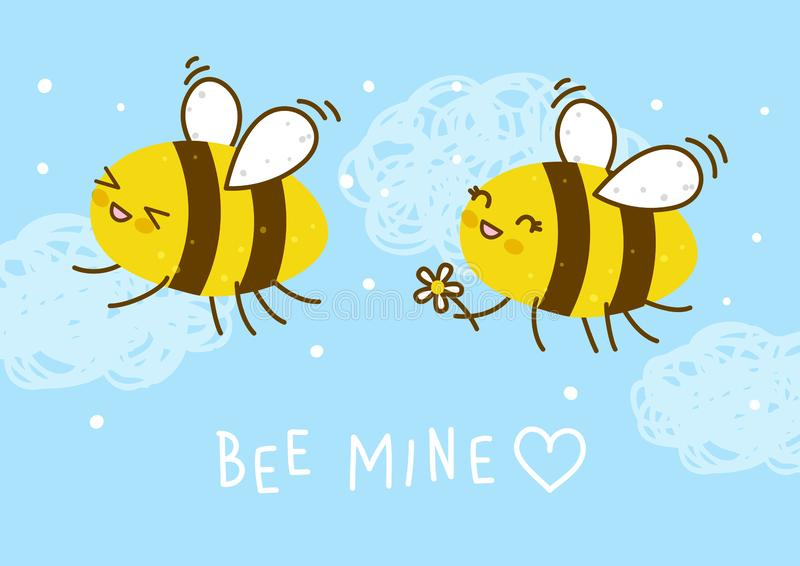 Cute honey bees on blue sky stock illustration