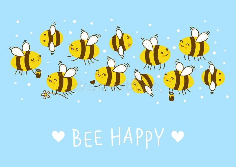 Cute honey bees border. For Your kawaii design stock illustration